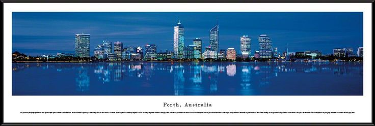 Perth Skyline Panoramic Picture Framed, Australia