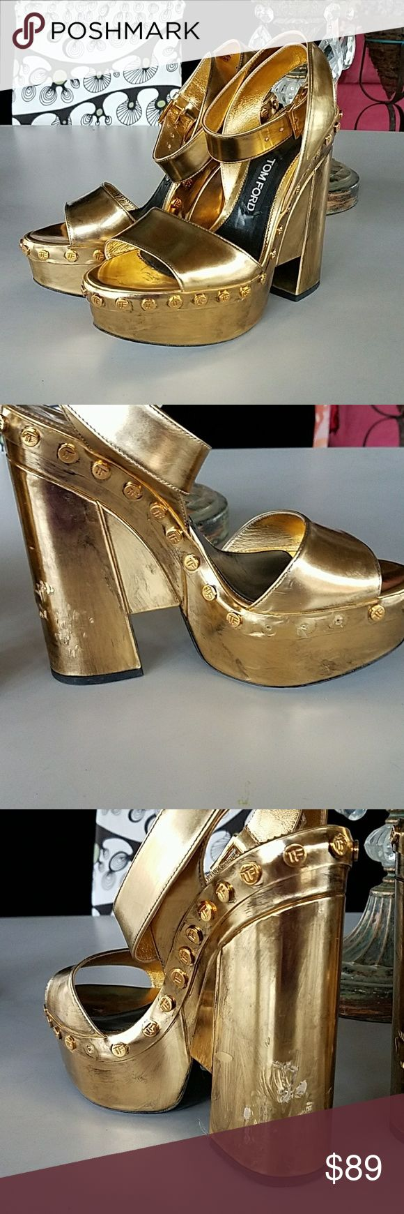 Tom Ford sz 39.5/9.5 gold platform heels *repair These are awesome rockstar heels but these need repair. If you want them, feel you know some place to fix them or can transform them/bedazzle them.. go for it ! Tom Ford Shoes Platforms