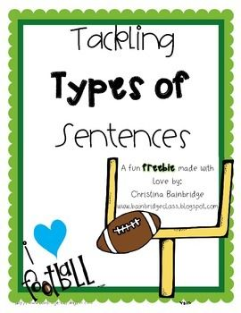 Enjoy this freebie!  This includes a set of football themed cards that allow you to conduct a sentence sort with groups as a fun activity or use them in a center or use them as a classroom/hallway hunt.  Twelve sentences are included as well as a quick follow-up worksheet.