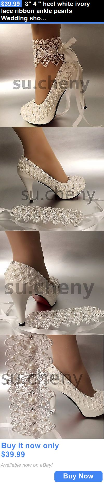 Wedding Shoes And Bridal Shoes: 3 4 Heel White Ivory Lace Ribbon Ankle Pearls Wedding Shoes Bride Size 5-11 BUY IT NOW ONLY: $39.99