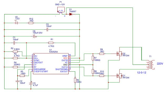 Mini Inverter 12v To 220v Ka3525a Circuit Diagram