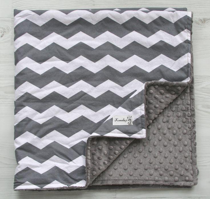 Grey Chevron Minky Baby Blanket From Kemaily