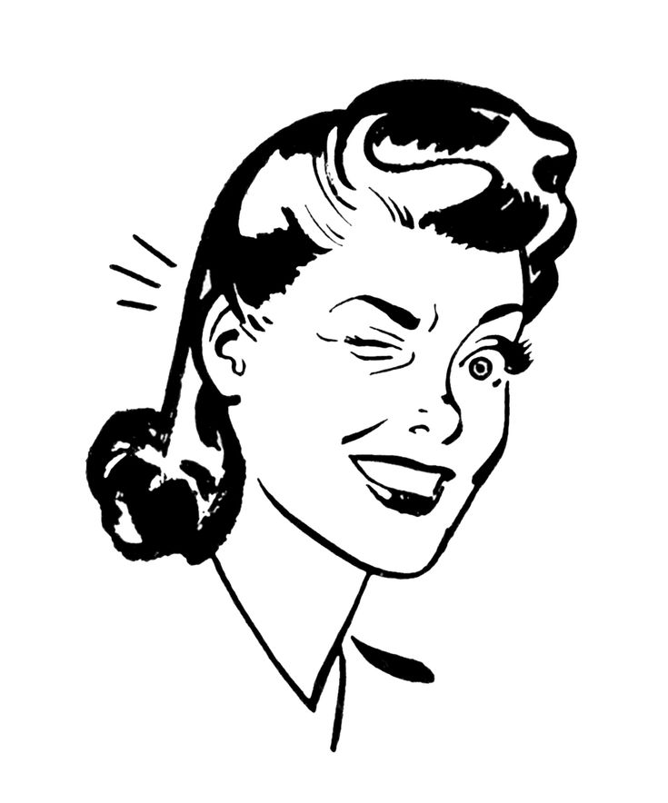 Black and White Vintage Illustrations | Filed Under: Black and White Clip Art , Retro , Women ·