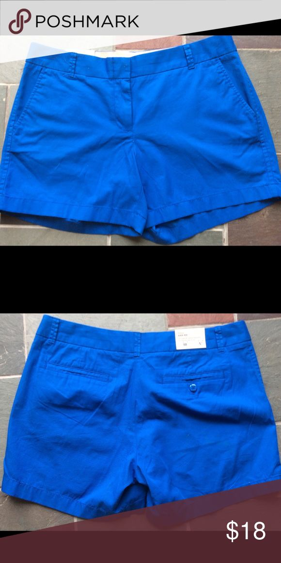 J. Crew Cobalt Blue shorts size 10, 5inch inseam Excellent condition. Smoke/animal free home Chino City Fit Sits just above the hips Fitted through the hips J. Crew Shorts