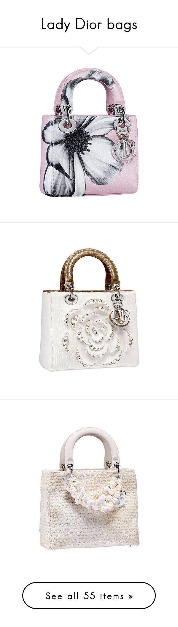 """""""Lady Dior bags"""" by vampirelina ❤ liked on Polyvore featuring bags, handbags, dior, purses, bolsas, christian dior, white bags, christian dior handbags, christian dior bags and white handbags"""