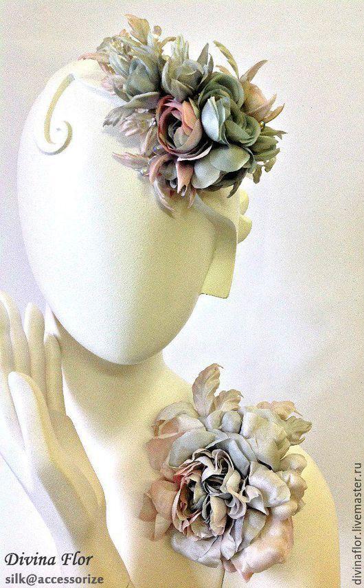Wedding silk flowers   Свадебные украшения ручной работы. Ярмарка Мастеров - ручная работа. Купить обруч для волос МАРТА. Handmade. Тёмно-бирюзовый