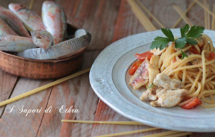 Pasta con le triglie  pesce spada e pomodorini