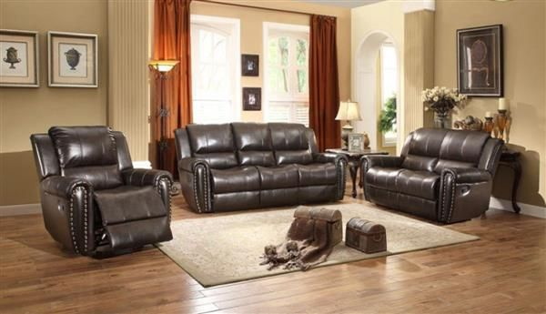Bosworth Traditional Dark Brown Leather Living Room Set