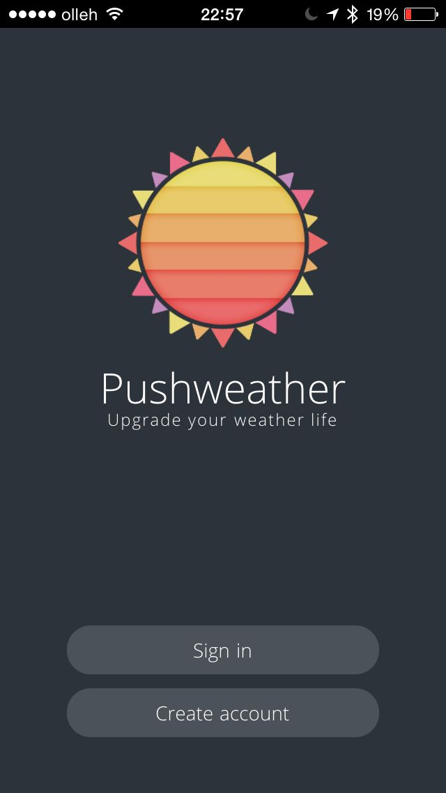 First screen @ Pushweather. Pushweather mobile weather application for Android and iOS. (mobile app, weather app, mobile application, mobile weather app)