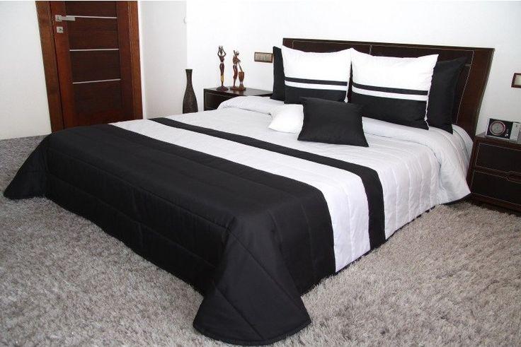 Černo bílý luxusní přehoz na manželskou postel