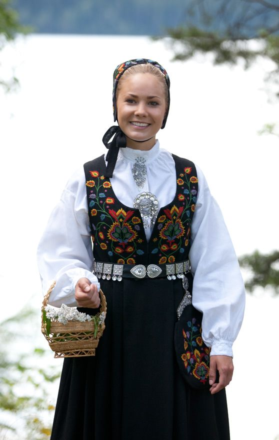 """The """"Old Valdres Bunad"""" is one of the first embroidered bunads designed in 1914. The motif was copied from a bonnet dated the middle of the 19th century."""