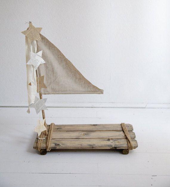 Vintage Holz holzfiguren Stütze Floß Stütze Baby Floß von Mamamada