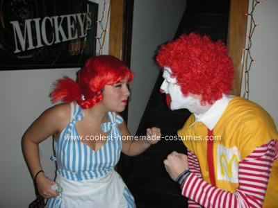 Homemade Wendy and Ronald McDonald Costumes: These Homemade Wendy and Ronald McDonald Costumes really played to my infatuation with fast food.  All in all, it took a bit of digging and the help of