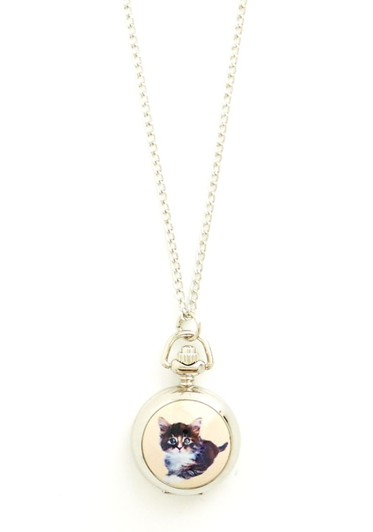 Have You Cat the Time? Pocket Watch Necklace. Youll never be feline rushed, or pressed for time when you have this silver pocket watch necklace to keep your schedule on track! #multi #modcloth
