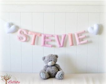 Personalized name/ engagement/ wedding banner/ bunting/ garland photo prop - pink and white - nursery decor - MADE TO ORDER