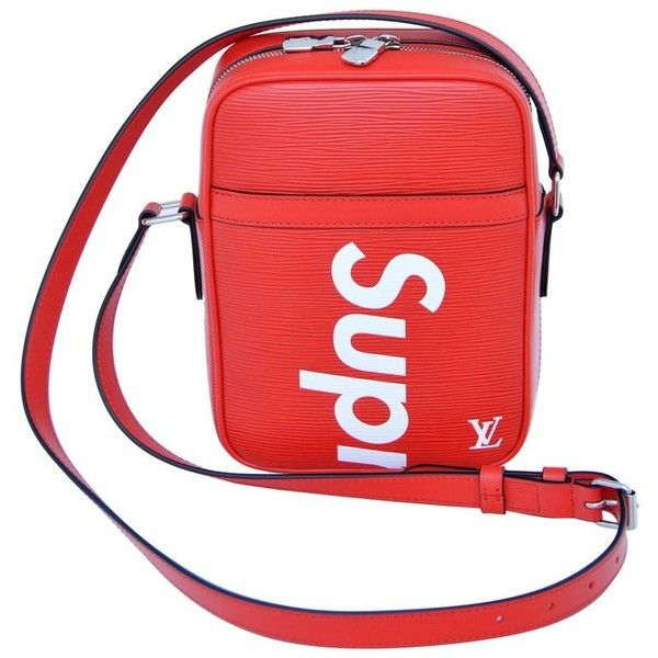 Preowned Supreme Louis Vuitton Red Shoulder Bag Danube Rare Pop-up... ($6,780) ❤ liked on Polyvore featuring bags, handbags, shoulder bags, messenger bags and red
