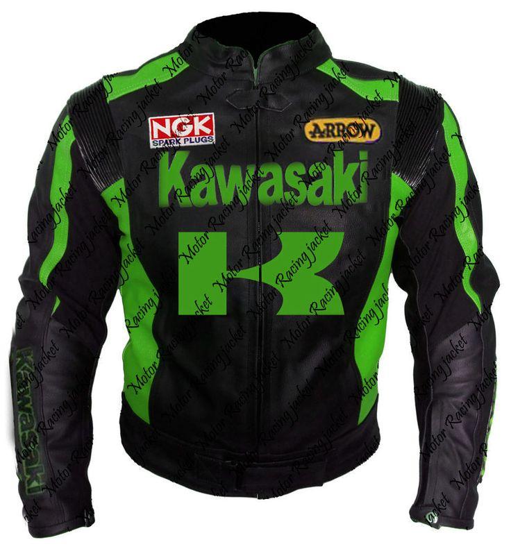 Mens Black Leather Kawasaki Coats