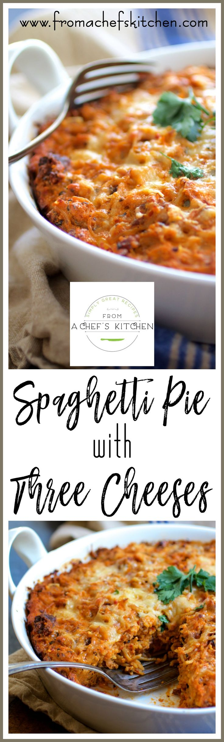 Spaghetti Pie with Three Cheeses--smoked mozzarella, ricotta and Parmesan--is how to turn leftover spaghetti into something amazing! via @chefcarolb