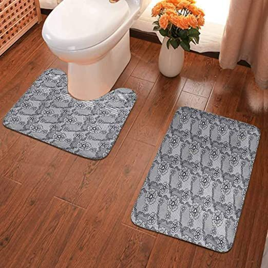 Ahuimin Non Slip Washable Quick Dry Soft 2 Piece Bathroom Rugs Set Black Lace Style Pattern With Blos In 2020 Bathroom Rug Sets Bathroom Rugs Bathroom Rugs And Mats