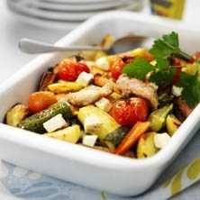 Ugnsrostad kyckling med rotfrukter - Recept - Tasteline.com
