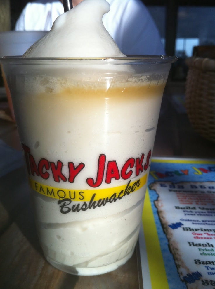 Tacky Jacks has awesome Bushwackers!  Here is a recipe to try at home:     4 oz cream of coconut  2 oz Kahlua® coffee liqueur  1 oz Bacardi® black rum (151 is best)   1 oz creme de cacao  4 oz half-and-half  vanilla ice cream      Pour all ingredients into a blender  with two cups of ice, and blend until mixed. Serve in a hurricane glass, or red solo cup!   Top with shot of 151! .