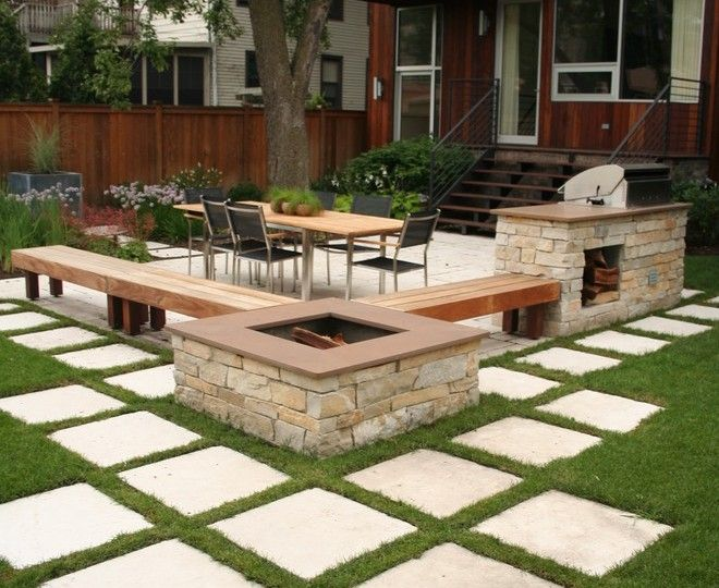 Another idea:  paver patio with grass between pavers.  I also like the fire pit, benches and grill station.
