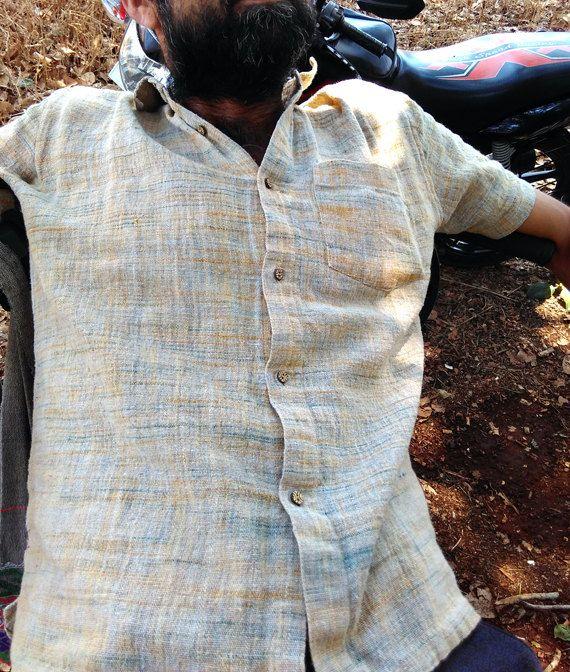 Mens Shirt, katoenen Shirt, handgemaakte katoen halve mouw Shirt, Raw veelkleurig Handspun katoen overhemd