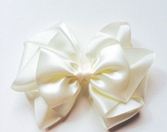 Flower girls White satin hair bow Satin hair bow by LovelyGloria