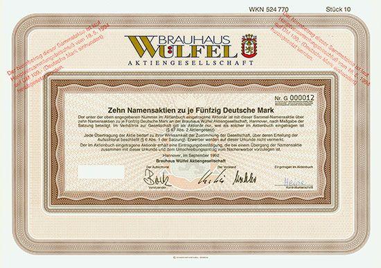 Brauhaus Wülfel AG Hannover, September 1992, Namensaktie über 10 x 50 DM, später auf 100 DM umgestempelt