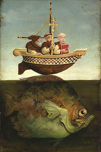 "James Christensen's Fine Art -  St. Brendan, The Navigator.  ""A Franciscan, a Dominican and a Trappist were in a boat fishing one day...""  James Martin, S.J. tells precisely these kinds of stories, but always includes a Jesuit in the boat!"
