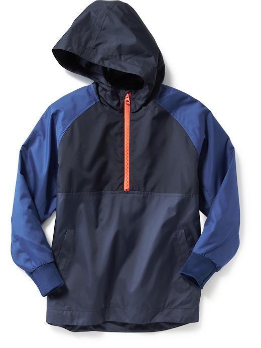 Colorblock 1/2 Zip Hooded Jacket