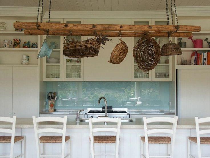Beach cottage kitchen with white wood paneled ceiling for Beach cottage kitchen cabinets