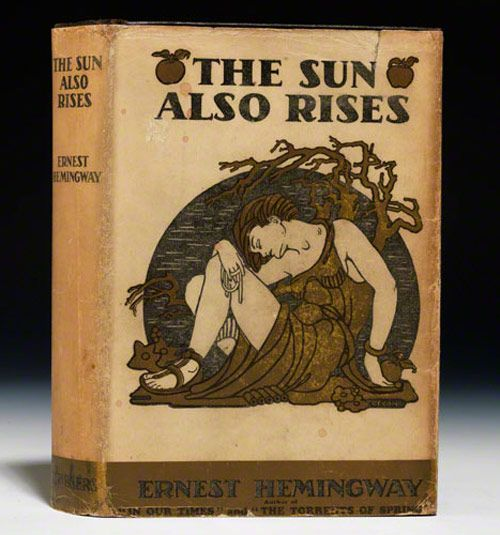 The First Edition Covers of 25 Classic Books: The Sun Also Rises, by Ernest Hemingway. Scribner, 1926. Cover design by Cleonike Damianakes.