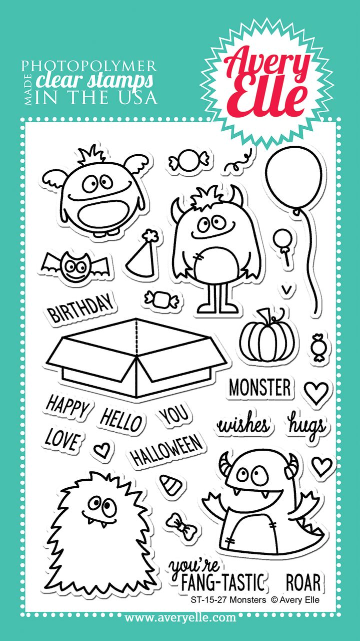 The Rubber Buggy  - Avery Elle Clear Stamp - Monsters, $14.99 (http://www.therubberbuggy.com/avery-elle-clear-stamp-monsters/)