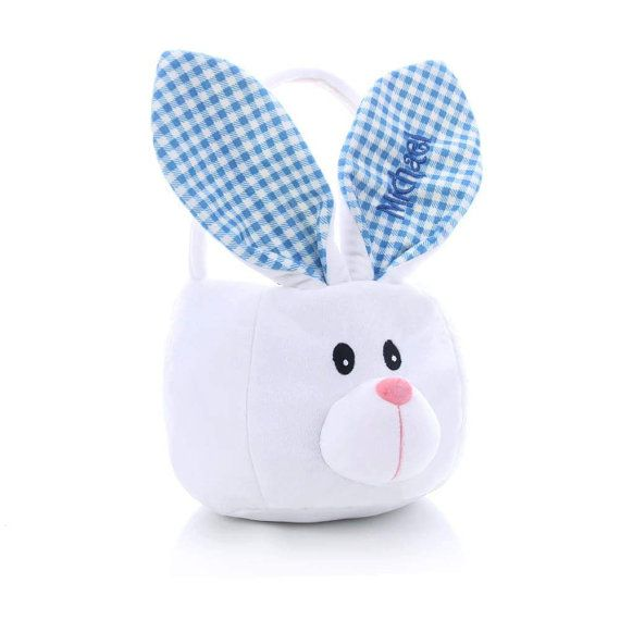 Wholesale Personalized Easter Bunny Basket, Pink or Blue Checked Ears, Girls Easter Basket, Easter Baskets