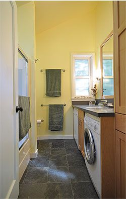 Small-House Secrets - Fine Homebuilding Article Make multipurpose rooms  The one and only bath is also the laundry room, with a full-size front-loading washer and dryer tucked under the lavatory counter. This strategy not only saves space, but it also minimizes plumbing runs. Likewise, the study is also the guest bedroom.