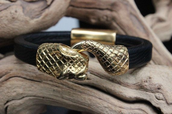 Licorice Leather Bracelet Gold Snakehead Clasp Gold Tube Spacer Summer Trends May Gifts May Finds Mothers Day on Wanelo