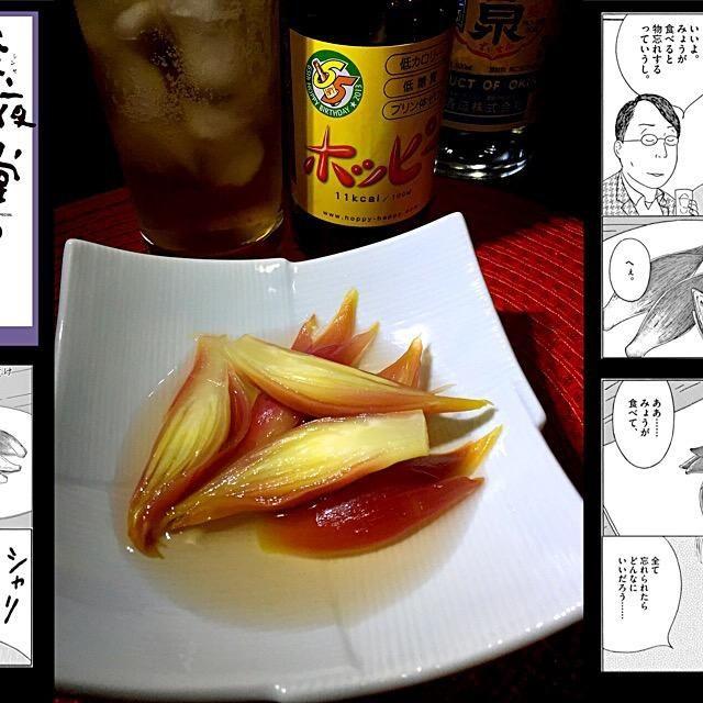 深夜食堂 最新13巻から第171夜 みょうがの甘酢漬け。  箸休めにぴったりのみょうがの甘酢漬け  深夜食堂にやってくる常連の松村さんと村松さん…ややこしい  二人は高校時代からの大親友。  『みょうがを食べると物忘れする』という迷信を信じる村松に松村はみょうがの甘酢漬け勧めたことがきっかけで仲良く甘酢漬けにハマることに。しかし、松村の重大な裏切発覚(村松の嫁さんと…)  嫌なことはみょうがを食べて忘れられればいいのに…  みょうがは、好き嫌いがあると思いますがあの独特な風味がたまりませんね。コレも大人味  トミサクどの、いつものように食べ友よろ〜 - 93件のもぐもぐ - 【深夜食堂】みょうがの甘酢漬け by kedent17