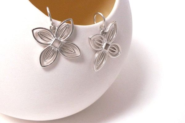 Sterling silver handcrafted frangipani/pacifica earrings