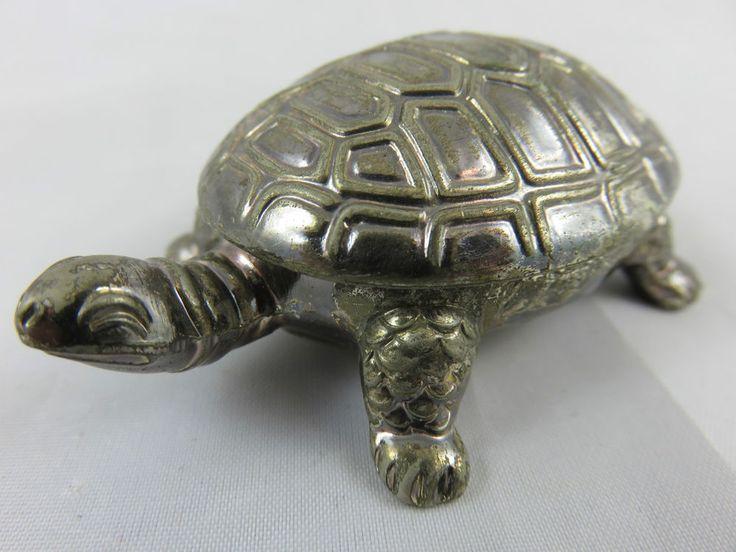 Schöne Alte Pillendose Medikamentendose Schildkröte Figur versilbert