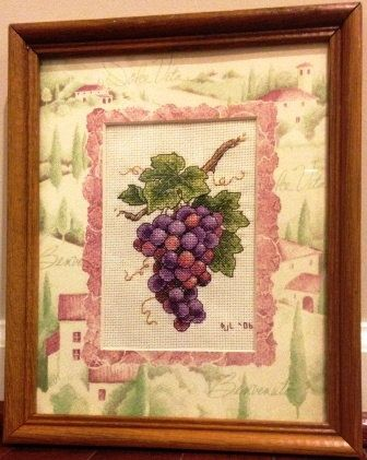 Completed Cross Stitch in Frame Grapes on Vine by dannileifer, $24.99