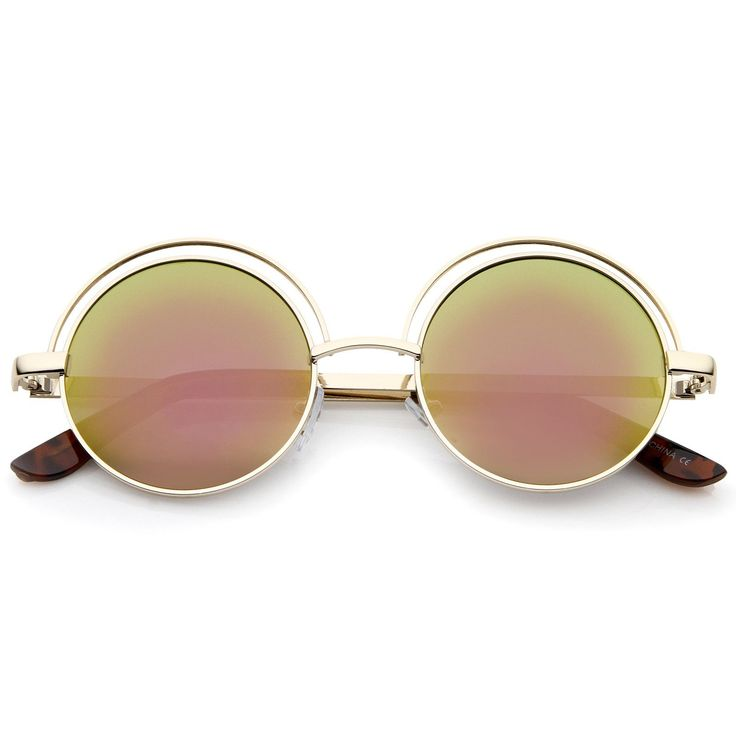 Retro Open Metal Colored Mirror Flat Lens Round Sunglasses 48mm