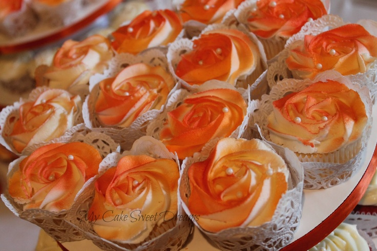 "orange wedding cupcakes cakes ideas   My Cake Sweet Dreams"": Pretty in orange wedding cake and cupcakes"