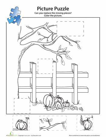 Worksheets: Pumpkin Patch Picture Puzzle