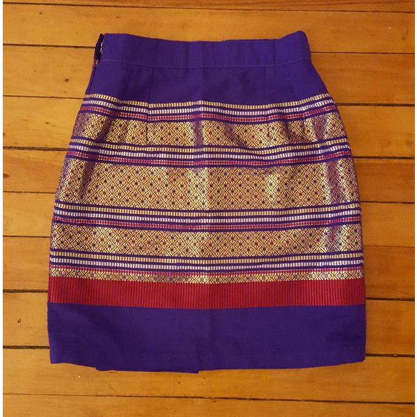 Gorgeous Embroidered Festival Boho Miniskirt Pencil Skirt Purple Gold... ($20) ❤ liked on Polyvore featuring skirts, metallic mini skirt, red pencil skirt, pencil skirt, gold skirt and gold pencil skirt