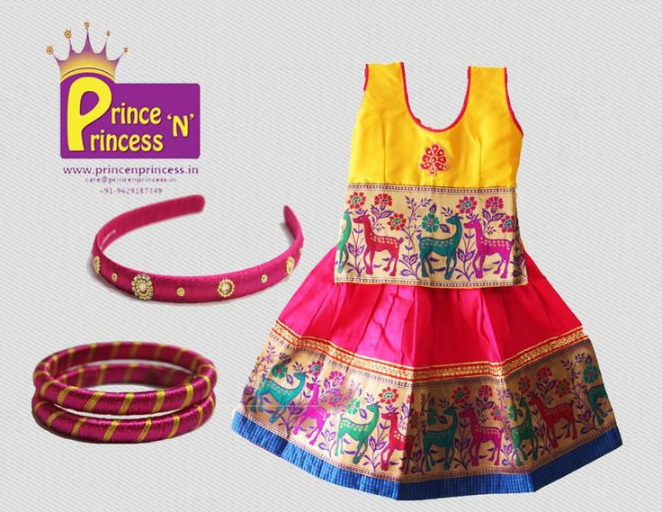 Kids Pattu Pavadai langa .. silk thread bangles and hairband