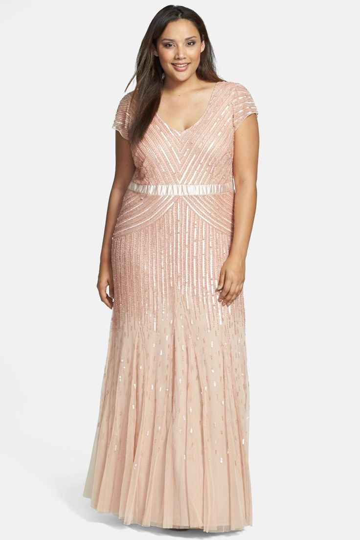 Pinterest flapper wedding dresses 1920s style and adrianna papell - Adrianna Papell Embellished Mesh Gown Plus Size By Adrianna Papell On Nordstrom_rack