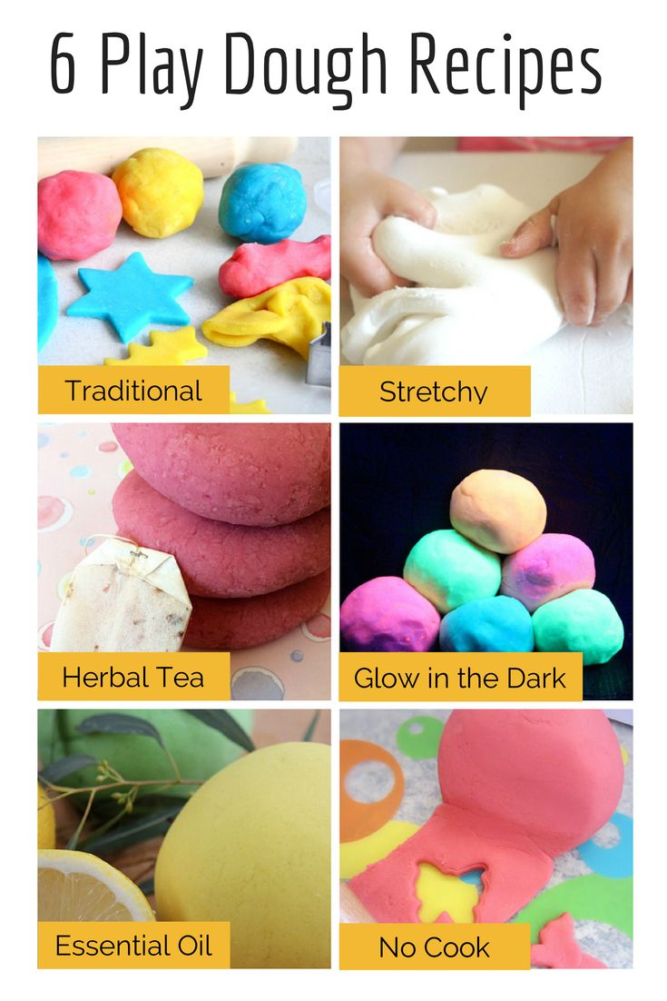 Different Play Dough Recipes: traditional — stretchy — herbal tea — glow in the dark — essential oil — no cook