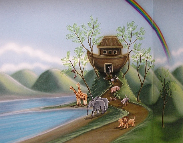 24 best images about noah 39 s ark nursery theme on pinterest for Church wall mural
