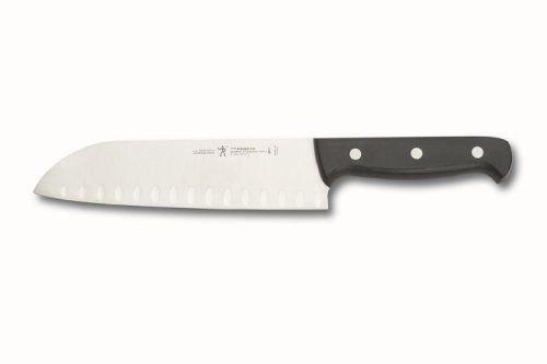 J.A. Henckels International Fine Edge Pro 7-Inch Santoku, Hollow Edge by Henckels. $12.99. High quality, German stainless steel blade with precision, stamped construction. Single 7-inch Santoku knife for preparing meat, fish, and vegetables. Handwash with mild cleanser; lifetime warranty. Fine-polished hollow razor edge, ideal for extra thin cutting. Black, satin-finished polypropylene handle with triple rivets; fully visible tang construction provides proper ba...